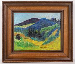 Mountain Landscape Painting in Style of DeForrest Judd