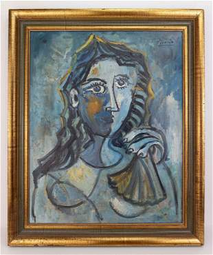 Style of Pablo Picasso Cubist Oil Painting In the Style