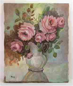 Flower Still Life Painting In Style Winston Churchill