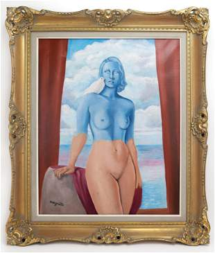 Belgian surrealist René Magritte In Style of Painting