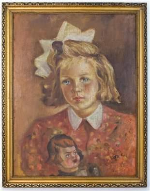 Child portrait Oil Painting Lotz K Signature