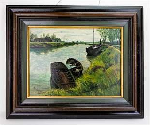 Waterfront scene, Oil Painting Rob Van Welden