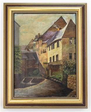 Oil Painting, Village scenery