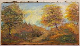Autumn Forest Scenery Oil Painting 20th Century