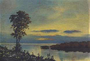 Waterfront Sunset Oil Painting 20th Century