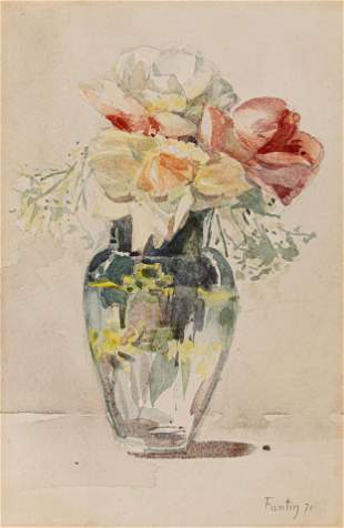 Flower Still Life with Roses, Watercolor Painting