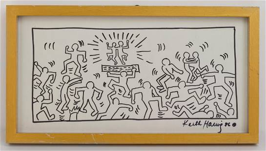 American Keith Haring Mixed Media Artwork In the Style
