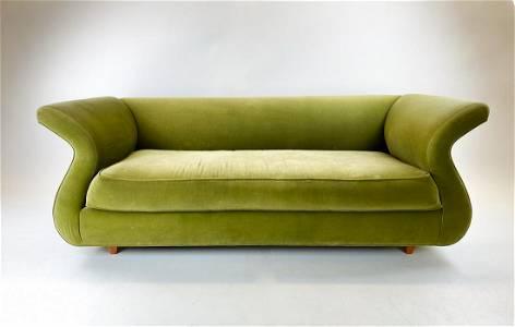 Fern Green Velvet Mid Century Italian Sofa
