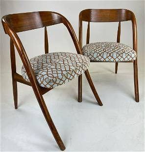 """Pair of Wormley """"A"""" Chairs with Patterend Upholstery"""