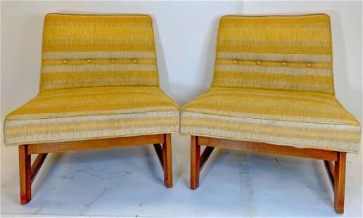 Pair Edward Wormley by Dumbar Slipper Chairs