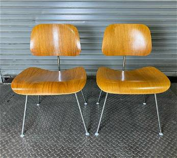 Pair Eames Herman Miller Molded Plywood Dining Chair