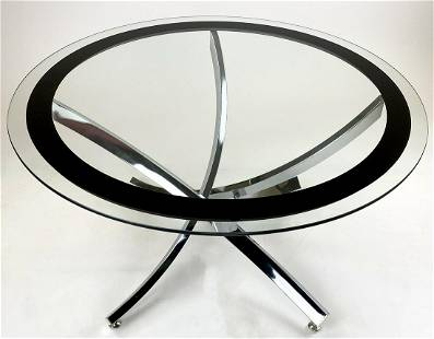 Pergay Style Chrome and Glass Coffee Table
