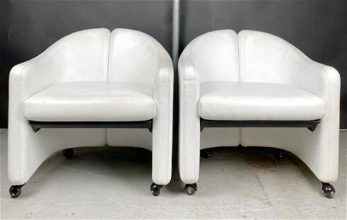 Pr of Eugenio Gerli White Leather Arm Chairs by Tecno