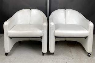2nd Pr Eugenio Gerli White Leather Arm Chairs by Tecno