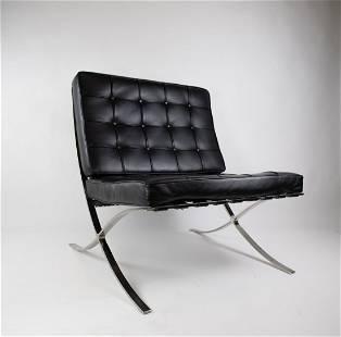 Mies Van Der Rhoe Barcelona Chair in black leather