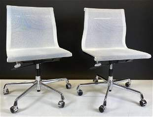 Pair of Eames by Vitra White Mesh Chairs