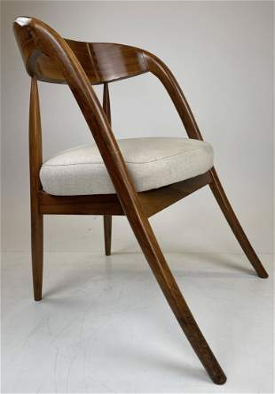 Wormley A Chair with White Upholstery