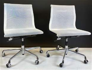 Pair of Vitra White Mesh Conference Chairs