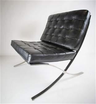 Mies Van der Rohe Black Leather Barcelona Chair