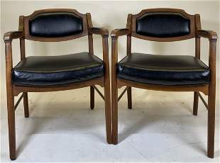Mid Century Alma Trend Program Wood Leather Arm Chairs