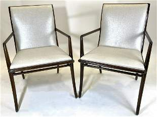 Pair of Rosewood Comb Back, Luster Linen Arm Chairs