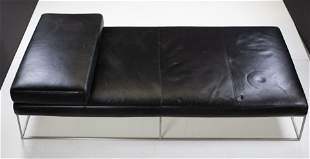Modern Low, Black Leather Daybed