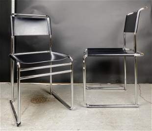 Pair of Black Leather Sling almost Cantilever Chairs