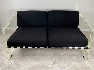 Lucite Loveseat with Aluminum and Leather Straps