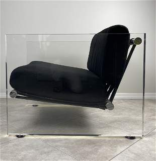 Vintage Lucite, Leather and Aluminum Lounge Chair