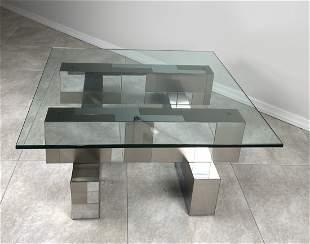 Paul Evans Brass Chrome Cityscape Coffee Table