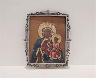 Antique Icon Black Madonna of Częstochowa