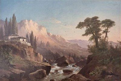GINE Alexander Vasilievich 1830-1880 CRIMEAN LANDSCAPE