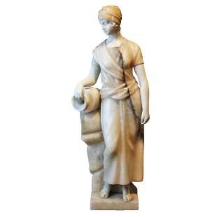 "Antique alabaster sculpture ""Woman with a pitcher"""