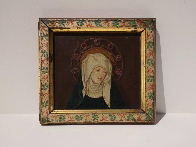 Antique 19th C painting of Saint Gothic manner