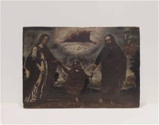 Antique early Holy Family Painting