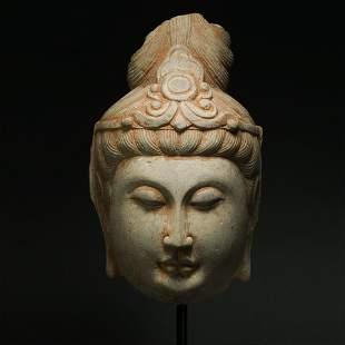 LIAO DYNASTY, STONE BUDDHA HEAD