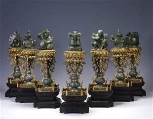 A set of seven treasures of cloisonné enamel inlaid