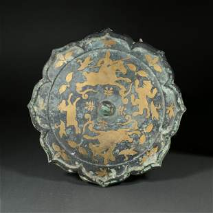 BRONZE MIRROR PAINTED WITH GOLD, CHINA