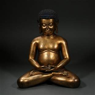 CHINESE QING DYNASTY GILT BRONZE YOGA SEATED STATUE