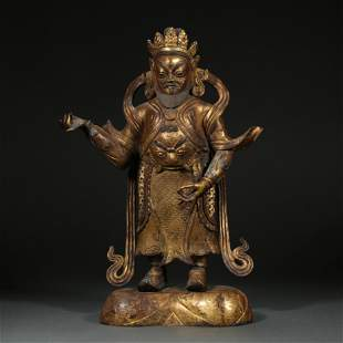 GILDED BRONZE STATUE, QING DYNASTY