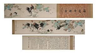 CHINESE PAINTING AND CALLIGRAPHY LONG SCROLL BY WANG