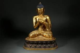 CHINESE GILT BRONZE SAKYAMUNI BUDDHA, QING DYNASTY