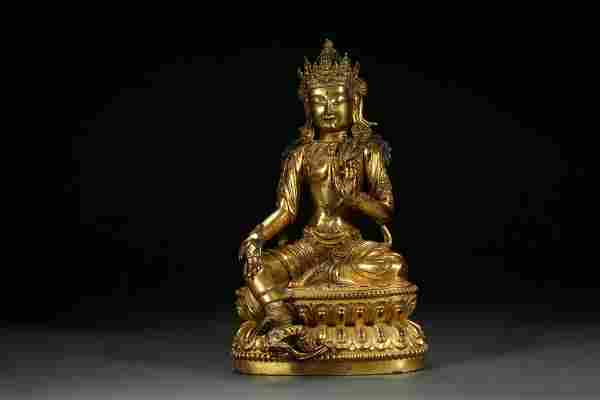 CHINESE MING DYNASTY GILT BRONZE GREEN TARA BUDDHA