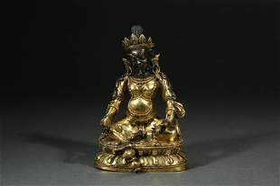 CHINESE GILT BRONZE STATUE, QING DYNASTY