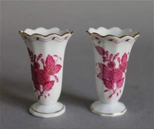 pair of Herend handpainted mini bud vases