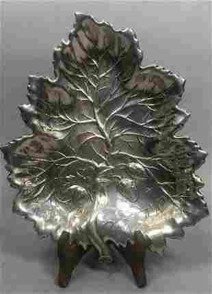 sterling stamped figural strawberry leaf dish weight