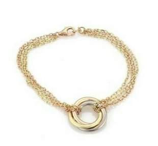 Cartier trinity tri color 18k gold 4 chain bracelet