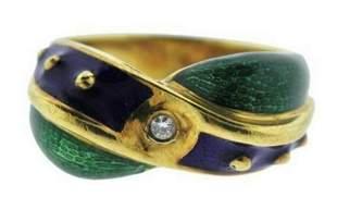 Mavito 18k yellow gold enamel ring with center diamond
