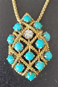 18k pendant  turquoise pendant with diamond