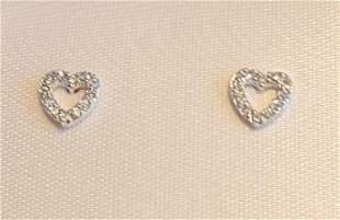STERLING SILVER cubic zirconia heart EARRINGS SET